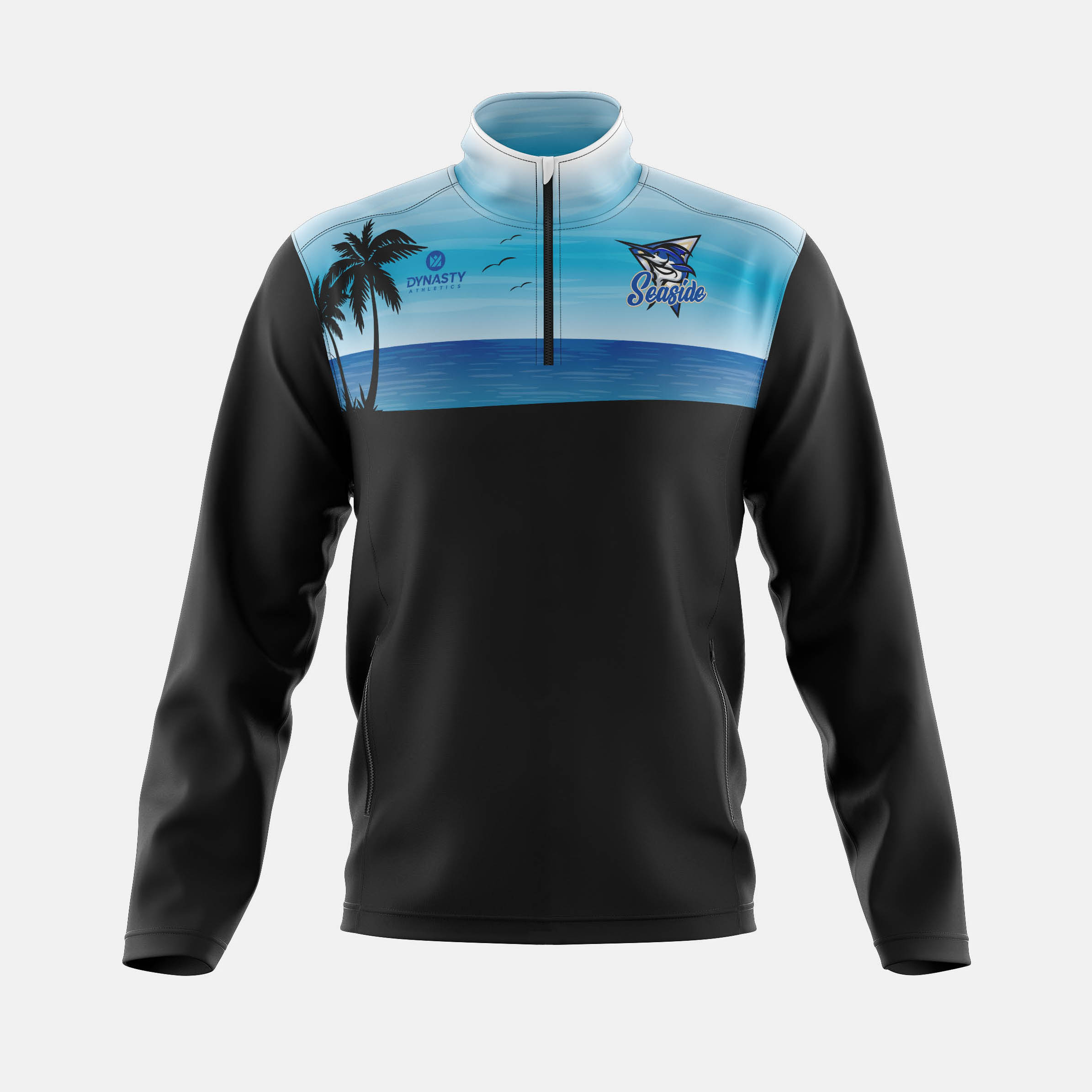 Seaside Qtr Zip Track Jacket Front View